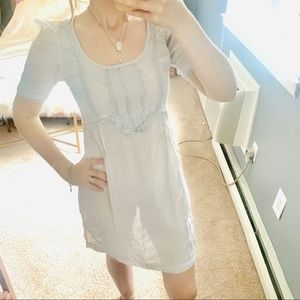 Zara Gray sheer crotchet peasant tunic dress